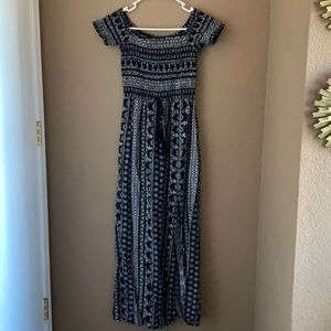 Black and white off the shoulder maxi dress